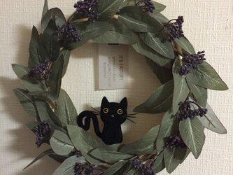 黒猫ちゃん付きユーカリポポラスのリース Lの画像