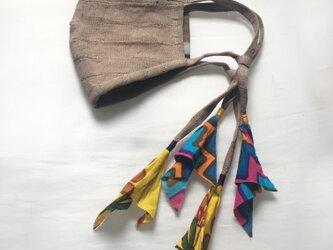 しましまリネンのリネンマスク(木版プリント)の画像