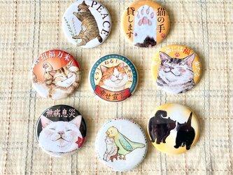 2個セット。いろいろ選べる8つの猫まみれの丸い缶バッチ の画像