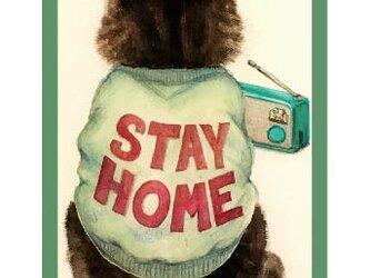 長方形缶バッチ「STAY HOME」の画像