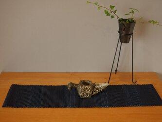 裂織    敷物 ランナー 草木染   藍 ☆送料無料【077】の画像