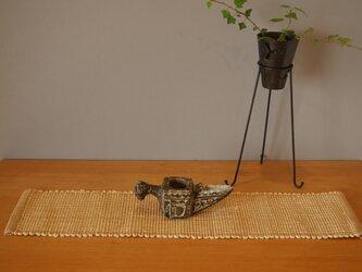 裂織    敷物 ランナー 草木染 びわ   ☆送料無料【078】の画像