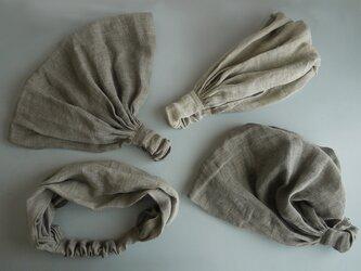 linen headband #砂色の画像