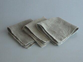 linen minihandkerchief #灰色の画像