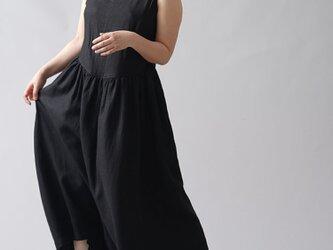 【wafu】やや薄地 リネンノースリーブドレス 重ね着専用リネンドレス セットアップ用/ブラック a018a-bck1の画像