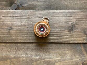 2coinsキーホルダー(キャメル×紺・ワンスターver.)の画像