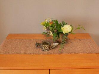 裂織    敷物 ランナー 草木染  やまもも  ☆送料無料【089】の画像