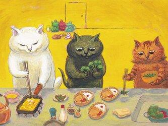 カマノレイコ オリジナル猫ポストカード「おべんとうづくり2020」2枚セットの画像