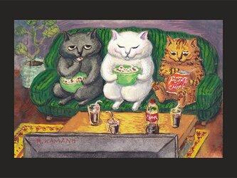 カマノレイコ オリジナル猫ポストカード「お部屋で映画」2枚セットの画像