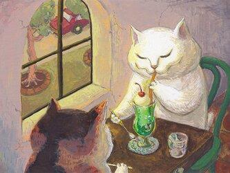 カマノレイコ オリジナル猫ポストカード「クリーム・ソーダ」2枚セットの画像