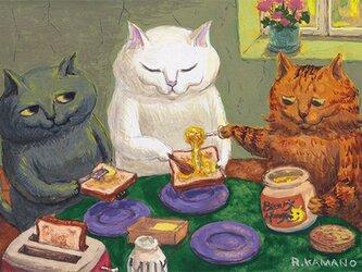 カマノレイコ オリジナル猫ポストカード「はちみつトースト」2枚セットの画像