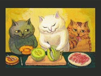 カマノレイコ オリジナル猫ポストカード「マスクメロン」2枚セットの画像