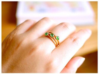 [YC:10161735]★受注制作★ NO.38 k18ゴールドリング 翡翠リング 翡翠指輪 ダイヤモンドリング 指輪 お祝いの画像