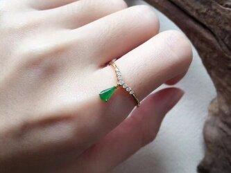 [YC:10059961]★受注制作★ 142 k18 翡翠 ヒスイ高級なリング 贅沢指輪 受注制作 ゴールドリング ダイヤモンの画像
