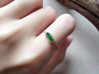 [YC:10059420]★受注制作★ 144 k18 翡翠 ヒスイ高級なリング 贅沢指輪 受注制作 ゴールドリング ダイヤモンの画像