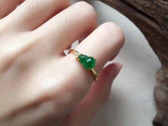 [YC:10020467]★受注制作★ 151 k18 翡翠 ヒスイ高級なリング 贅沢指輪  ゴールドリング ダイヤモンドリングの画像