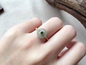 [YC:9189956]★受注制作★ 159 k18 翡翠 ヒスイ高級なリング 贅沢指輪  ピンクゴールドリング ダイヤモンドリの画像