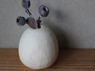 花器 揺らいだ形 白 顔料黒 地シリーズの画像