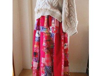 Dreamin' magenta リネンコットン絵画なパッチワーク ティアードギャザースカートの画像