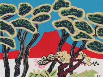 風呂敷 ふろしき  片岡球子 赤富士 ブルー 絹100% 45cm×45cmの画像