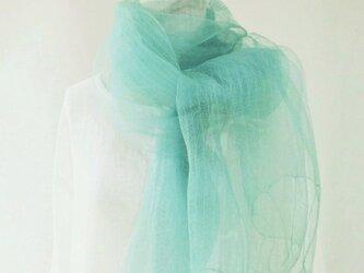 【送料無料】藍の生葉染め・シルクオーガンジー・大判ロングストールの画像
