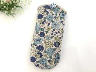 花柄メガネケース ブルー×グリーンの画像