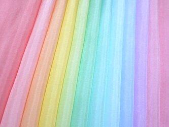 (M-2)正絹 羽二重 胴裏 手染め12枚 12色 はぎれセット ライト つまみ細工用布・吊るし飾りにの画像