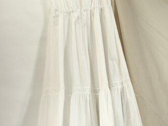 綿レースのシュミーズドレス 白115の画像