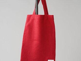【wafu】中厚 リネン バッグ かばん 鞄 エコバッグ リネンバック リネンバッグ/レッド z013b-red2の画像