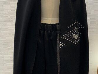 セットアップ(着物リメイク)(黒絵羽織)の画像