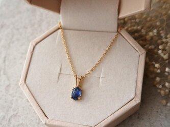【14kgf】宝石質カイヤナイトの一粒ネックレス(オーバル)の画像