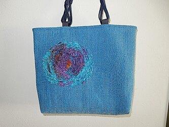 裂き織 トートバッグ(コバルトブルー)の画像