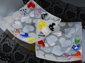 ハート ハートなお皿 ガラスの画像