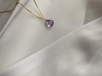 14KGF 宝石質AAAマロンカットアメジストネックレスの画像