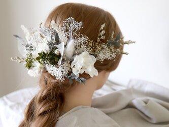 【リメイクOK】ボタニカルヘッドドレス(ナチュラルホワイト) #768の画像