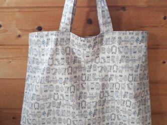 ♪春のSALE♪ふくろう柄のお買い物バッグ(大)*ベージュの画像