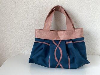 帯バッグ〜紺色とピンク〜の画像