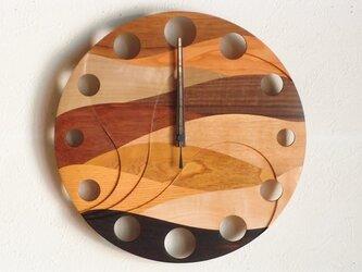 無垢の木の電波掛け時計 ウェーブ 0018の画像