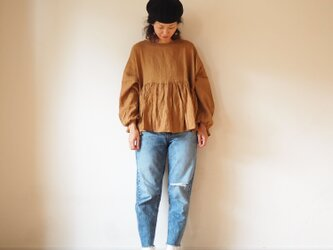 French linen gather blouse(Long sleeve)の画像