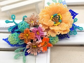 バレッタ Bouquet  (オレンジピオニー)の画像