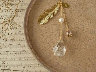 天然石とパールの帯飾り《水晶/F》【送料無料】の画像
