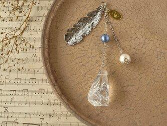 天然石とパールの帯飾り《水晶/E》【送料無料】の画像