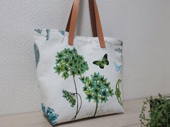 10%OFF花と蝶柄フランスリネントートバックの画像