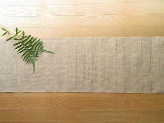 【受注制作】生成りの麻の手織りテーブルセンター 二段結びの画像