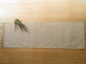2)生成りの麻の手織りテーブルセンター 二段結びの画像
