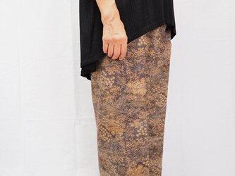 着物リメイク ワイドパンツ 茶色の画像