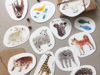 いろいろ動物メッセージカード タグ ブックマーク 12枚の画像