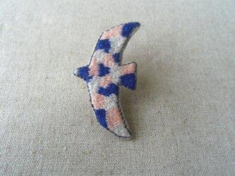 刺繍ブローチ 鳥(青)の画像