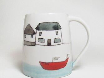 イギリス作家の手作りマグカップ「家と舟」の画像