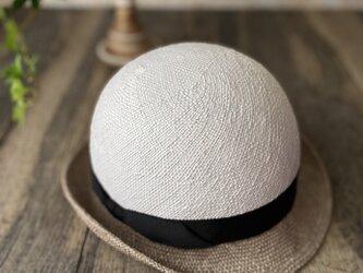 【即納】夏帽 combi white+gray#1の画像